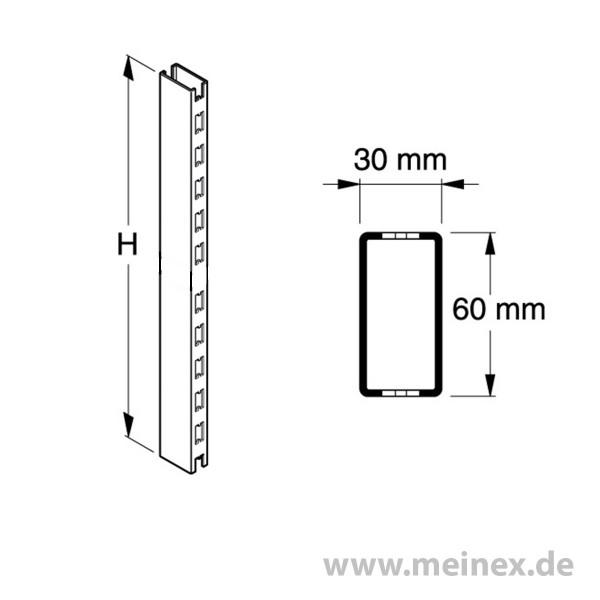 Säule Tegometall-Regal - 6x3cm - 2-seitig